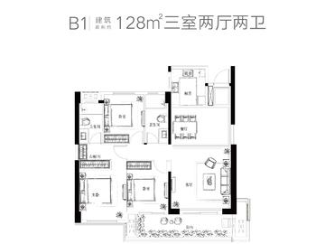 B1户型建筑面积约128㎡三室两厅两卫