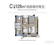 C户型建面约128㎡四房两厅两卫