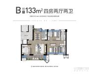 B户型建面约133㎡四房两厅两卫